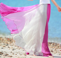 Wholesale Color Block Skirts - Wholesale-Fashion women spring summer ruffle color block chiffon maxi skirts female long skirt full bohemia casual skirts womens S1