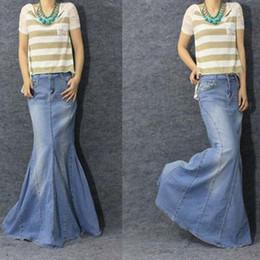 Wholesale Tail Floor - Wholesale-2015 spring Cool fish tail mermaid skirt blue denim long skirt ultra long Women jeans Causal Maxi Skirt plus size S-XL drop ship