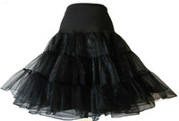 underskirt de compensação preto venda por atacado-Atacado-1950 Rockabilly Estilo Petticoat Organza Tule Rede Underskirt Preto ou Branco frete grátis