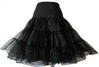 organza petticoat weiß großhandel-Wholesale-50er Jahre Rockabilly Stil Petticoat Organza Tüll Netting Unterrock schwarz oder weiß kostenloser Versand