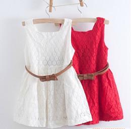 3t Girls Belt NZ - Wholesale-2015 summer new models Kids Belt Lace Vest Dress Princess Girls dress red~white baby dress free shipping