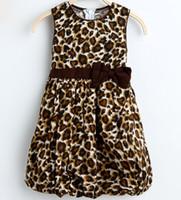 tutus do impressão do leopardo do bebê venda por atacado-Atacado-Summer Girl Dress 2 Camadas Leopard Print Algodão Lanterna Bow Tank Sundress Partido Aniversário Do Bebê Crianças Roupas Tamanho 2-10