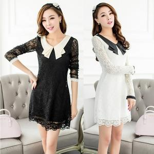 Wholesale-Autumn winter clothes new Korean cute lady peter pan collar long-sleeved lace dress plus size for women black white 3XL