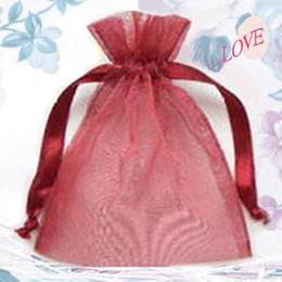 Wholesale Red Curls - 300 Pcs Wine Red Organza Gift Bag Wedding Favor 7 X 9 cm ( 2.7 x 3.5 inch)