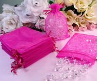 Wholesale Hot Pink Organza Favor Bags - 200 Pcs Hot Pink Organza Gift Bag Wedding Favor 7X9 cm (2.7x3.5inch)