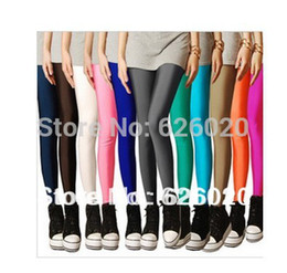 Femmes S Plus Taille Jeggings Pas Cher-Grossiste-Sexy Solid Candy Neon Taille Plus Leggings Femmes Haute Sport Stretched Jeggings Fitness Vêtements Ballet Dancing Pant