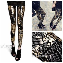 Wholesale Plus Size Gothic Clothing - Wholesale-European Punk Gothic Snake Splash Ink Gradient Plus Size Women's Clothing Leggings Leather Pants Apparel & Accessories