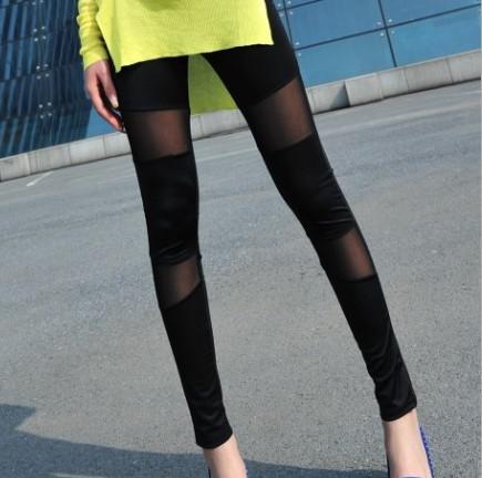 Оптовая продажа-новый 2015 Оптовая черный женская одежда сексуальные кожаные леггинсы мода личность сетки сращивание леггинсы брюки бесплатно