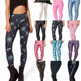 Wholesale Silver Leggings For Women - Wholesale-Free Shipping Black Milk Game Of Thrones - Win Or Die Legging for Women 2015 Fashion Women's Black Milk Girl Leggings