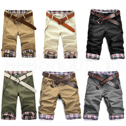 Wholesale Capris Shorts - Wholesale-PQ389 Mens Fashion Casual Summer Plaids Checks Pockets Short Cropped Zip Trousers Black men's sports cargo