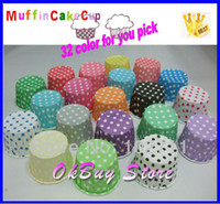 Wholesale Polka Dot Paper Cupcake - Wholesale-Paper Polka Dot Stripe party Baking cupcake liners muffin cups Ice cream cups Candy Nut cups-YOU PICK 32 COLORS send randomly