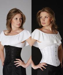 Wholesale Underbust Satin Cincher - Wholesale-Plus size corselet White Black Floral Brocade Cincher lace up Satin Underbust Corset S -4XL bustier top LC5100