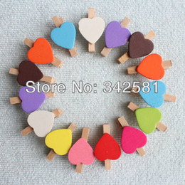 Wholesale Mini Wooden Heart Clips - Wholesale-50X Free Shipping MINI Mix Colors Peach Heart Craft Wooden Clips Pegs Prefect for Party Event Wedding Decoration Accessories
