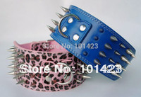 Wholesale 3inch Dog Collars - Wholesale-Free Shipping Berry 3inch Leather Sharp Spikes Strong Dog Pet Collar Doberman Collar