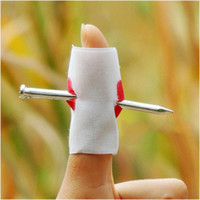Wholesale Joke Nail - Wholesale-10pcs Funny Bloody Nail Through Finger Prank Jokes For Halloween Party Costume Trick Toy #65685