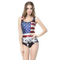 amerikanische flagge badeanzüge großhandel-Wholesale-American Flag New 2015 Badeanzug Digital Print Badeanzug Marke One Piece Bademode Frauen Stück Badeanzug Beachwear CYQ1067