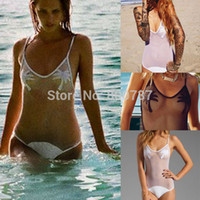 Wholesale Sexy Monokinis Swimwear - Wholesale-Top Quality Very Sexy Womens Lace Hollow Out One Piece Swimsuit Trees Printed Monokinis Swimwear Bathingsuit Beachwear T172
