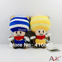 Wholesale Mario Squirrel Plush - Wholesale-Free Shipping Super Mario Plush Doll 9inch Squirrel   Musasabi Blue & Yellow Toad   Kinop Retail
