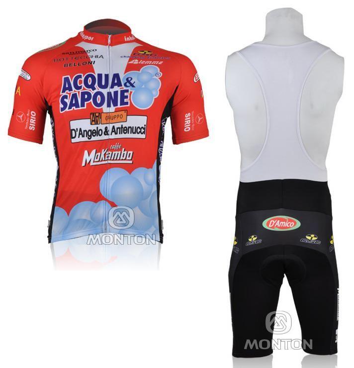 2010 Acqua Saponeチーム半袖サイクリングジャージ+ビブショート