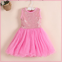 Wholesale Dres For Kids - Wholesale-2015 Summer Sequin Baby Girl Dress Toddler Dancing Clothing For Infant Princess Tutu Dres Children's Dresses kids Clothing