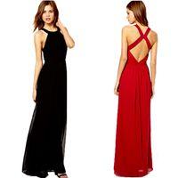 сексуальные женщины вырезали платья оптовых-Wholesale-Long Evening Dresses Sexy Women Maxi Chiffon Dress Halter Neck Back Cut Out Black and Red vestido de festa Size S M L XL