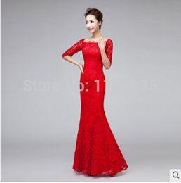 All'ingrosso-2015 moda pavimento-lunghezza elegante pizzo di lusso rosso nero abiti da sera abiti da barca collo mezza manica lunghe donne Vestido de festa da