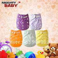 Wholesale Naughtybaby Cloth Diapers - Wholesale-Free Shipping Baby Cloth Diaper-Naughtybaby New Colors Double Row snaps Waterproof PUL Cloth Diapers With Insert 45 sets(1+1)