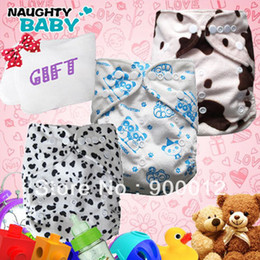 Wholesale Cloth Nappy Minky - Wholesale-Free Shipping Minky Baby Diapers 30 sets(1+1)+10 microfiber insert Printed Baby Infant Cloth Diaper AIO Reusuable Nappy +GIFT