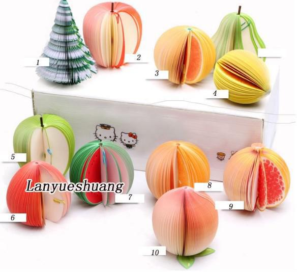 50 adet / lot Megrante Meyve bloknot Not Pad Red Apple notepad Elma / Armut / Turuncu / limon / şeftali