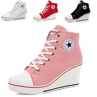Wholesale Sponge Wedges - Wholesale-new 2015 shoes woman. The bottom of the canvas sponge Height Increasing women sneakers. Wedge canvas shoes with high heels