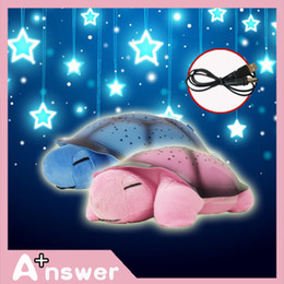 Wholesale Musical Toy Turtle Star - Wholesale-Gift For Children 2 Colors Free shipping Musical LED Turtle Night Light Stars Constellation Lamp mini projector Turtle Toys