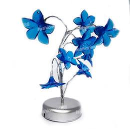Wholesale Night Light Lily - Wholesale-Mini Lily Flower Tree LED Night Light Lamp For Home Desk Festival Decoration Blue Free Shipping 1pcs lot