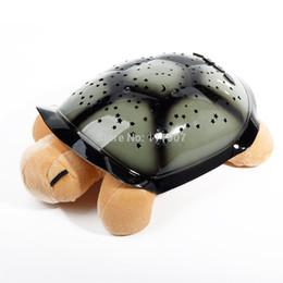 Wholesale Led Cute Turtle - Wholesale-Amazing Cute Toys Turtle LED Night Light Music Light Mini Projector 4 Song Star Lamp Baby Sleep Christmas Birthday Gift