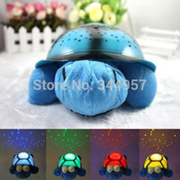 Wholesale Musical Toy Turtle Star - Wholesale-Hot!!! 4 Colors Sleep Musical Night Light projector star Turtle toy Constellation Lamp for Child gifts