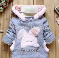 Wholesale Children Clothing Cartoon Rabbit Fleece Bunny Outerwear Girls Cute Clothes Hoodies Baby Kids Jacket Winter Coat roupa infantil