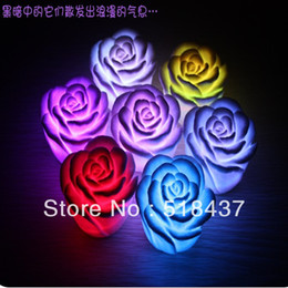 Wholesale Colorful Led Rose Light - Wholesale-handcraft flowers led lamp Romantic rose small night light colorful gift Valentine's gifts christmas decorations free shipping