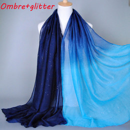 Wholesale Head Scarf Shawl - Wholesale-2015 Ombre glitter printe shade color cotton viscose shimmer long shawls head pashmina spring cotton hijab muslim scarves scarf