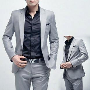 2017 Light Grey Suit Men's A Grain Of Buckle Cultivate One's ...