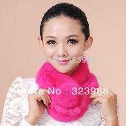 Wholesale Genuine Rabbit Fur Warmer - Wholesale-2015New Arrival Warm Winter Women's Neck Wrap Scarf 100% Genuine Rex Rabbit Fur scarves