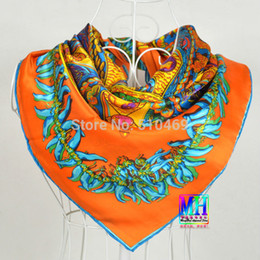 """Wholesale Scarf Hand Rolled - Wholesale-European Style Orange Red Silk Scarf Shawl 2015 """"H"""" Style Design Wraps 90*90cm Women Hand Roll-hemmed Square Silk Scarf"""