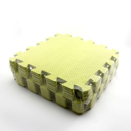 Пенопласт ковер онлайн-Wholesale-Yellow Baby Interlock Foam Crawling Mat Seamed Rug Splice Play Floor Puzzle Mat 10PCs/Pack