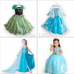 Wholesale Metallic Costume Dress - Wholesale-Retail,new 2015baby girl dress Anna Elsa costume cartoon princess cosplay girls dress clothes3-10 year