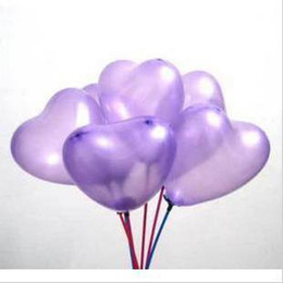 Wholesale Heart Shape Balloon Decoration - 100 Pcs Purple Heart Shape Latex Balloon + 100 Pcs Stick & Cup + Inflator Pump Party Decoration