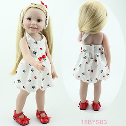 Wholesale Vinyl Doll 18 - Wholesale-18'' smiling girl doll american toys for children brown eyes lifelike american kids toys