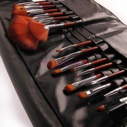 Wholesale Hair Tools Waist Bag - Wholesale-Professional Brush Set 24pcs For Salon Use Makeup Brushes & tools With Waist Belt Leather Bag