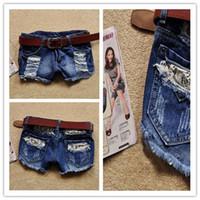 calções de calças quentes para mulheres venda por atacado-Atacado-Jeans Womens 2015 Jeans Rasgado Jeans Shorts Pantalones Vaqueros Mujer Feminino Do Vintage Branqueada Calças Quentes Skinny Jeans Para As Mulheres