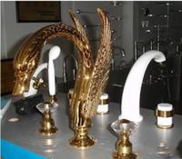 Wholesale Swan Roman Tub Faucet - 3 PIECE ROMAN TUB SWAN FAUCET BATHROOM TAP cystal handles
