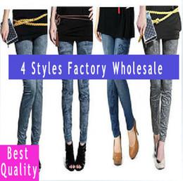 Wholesale Denim Look Tights - Wholesale-Printing 4 styles faux denim jeans looks women's ladies' skinny leggings pencil pants slim elastic stretchy tights