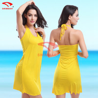 Wholesale Swimsuit Pareo Cover Up - Wholesale-2015 Beach Dress Brand Swimwear pareo Summer Women Dress Beachwear Swimsuit beach cover up tunic Cover Ups 10Color S M L XL