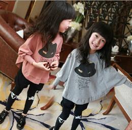 Wholesale Girls Batwing Tops - Wholesale-Girl Cartoon Batwing Long Sleeve Sweatshirts 2015 Children Autumn Hat Tops Outdoor T-shirt Full Size 100CM-160CM Free Shipping